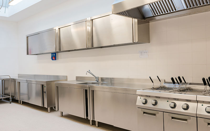 Industrial kitchen in stainless steel