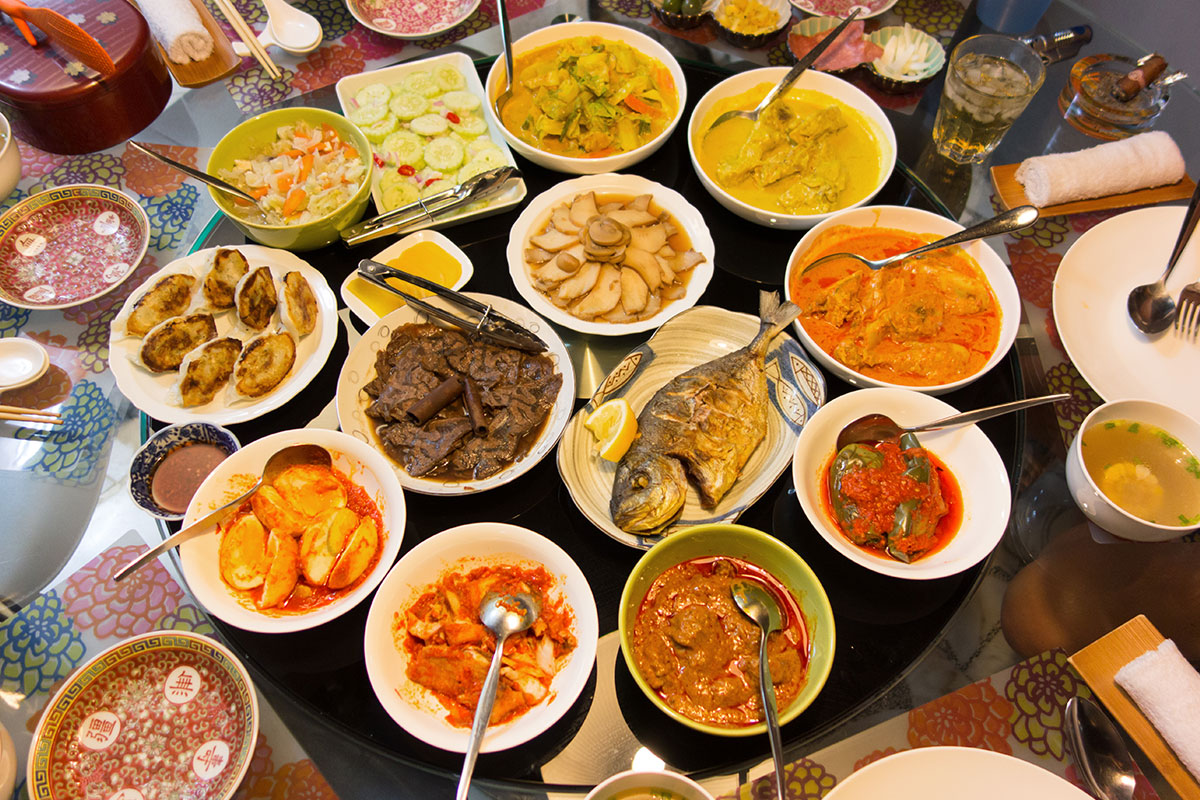 Various plates of asian dishes